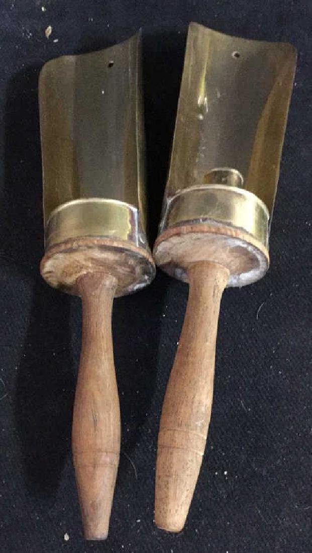 Pair Vintage Wood and Brass Candle Holders - 3