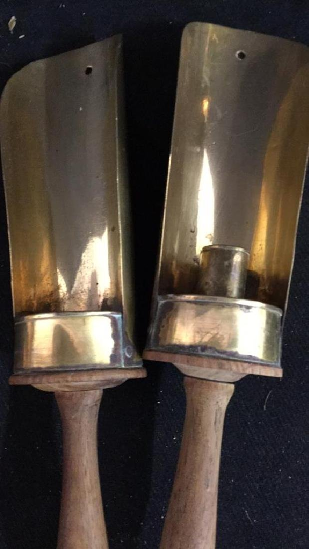 Pair Vintage Wood and Brass Candle Holders - 4