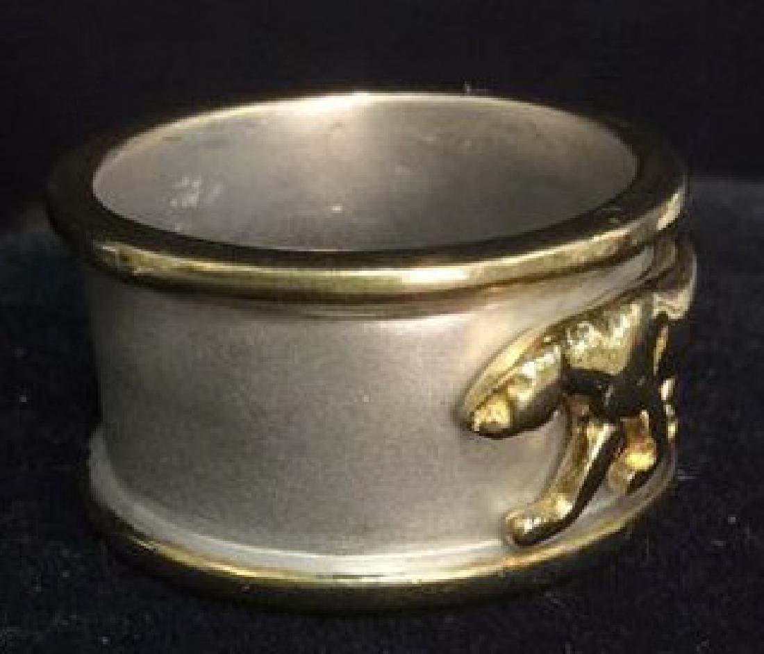 Sterling Silver Ring W Gold Toned Lion Figural