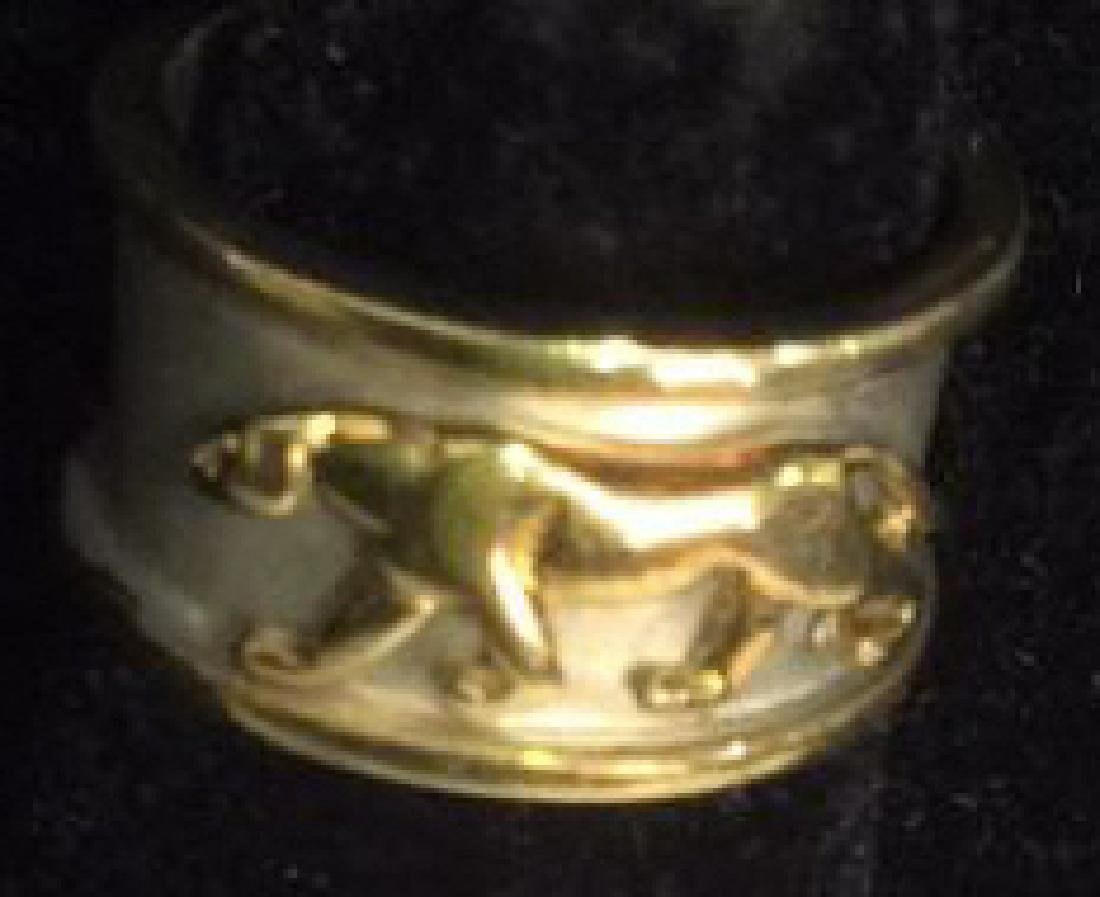 Sterling Silver Ring W Gold Toned Lion Figural - 2
