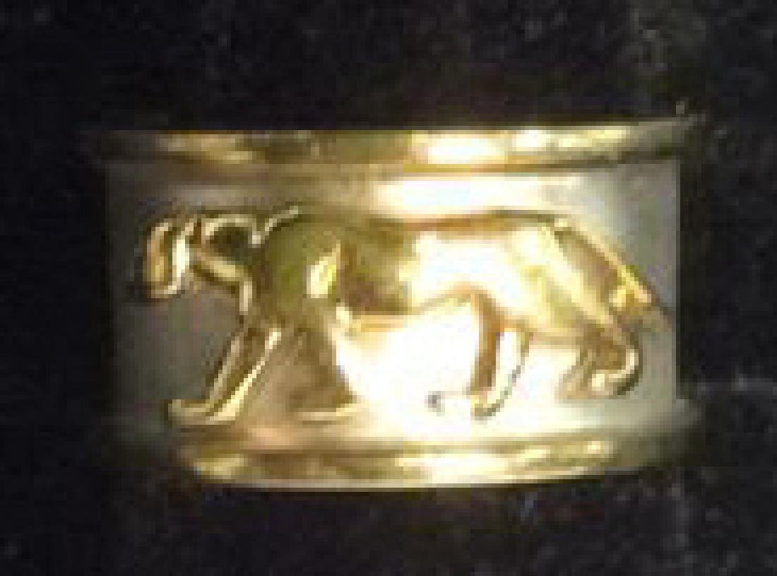 Sterling Silver Ring W Gold Toned Lion Figural - 3