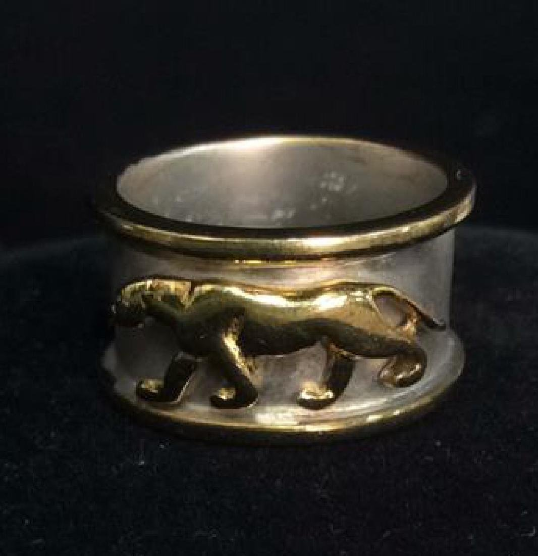 Sterling Silver Ring W Gold Toned Lion Figural - 4