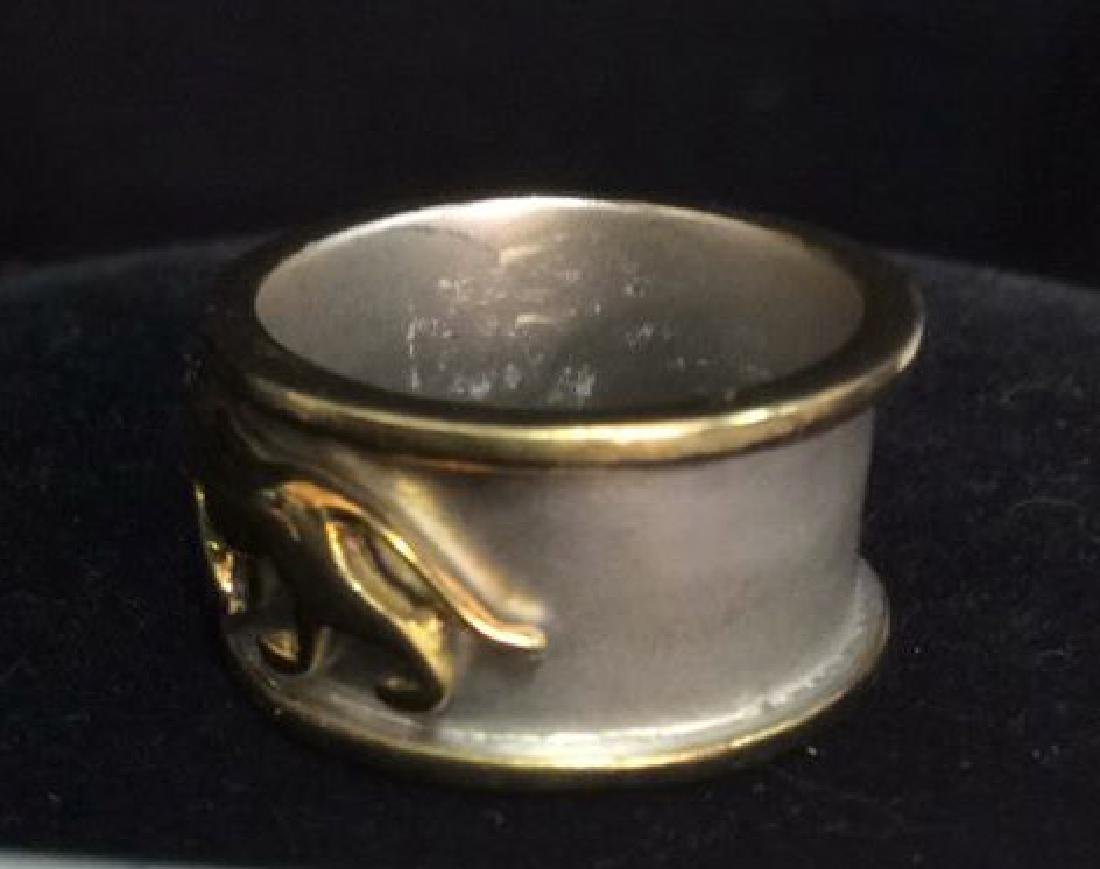 Sterling Silver Ring W Gold Toned Lion Figural - 6