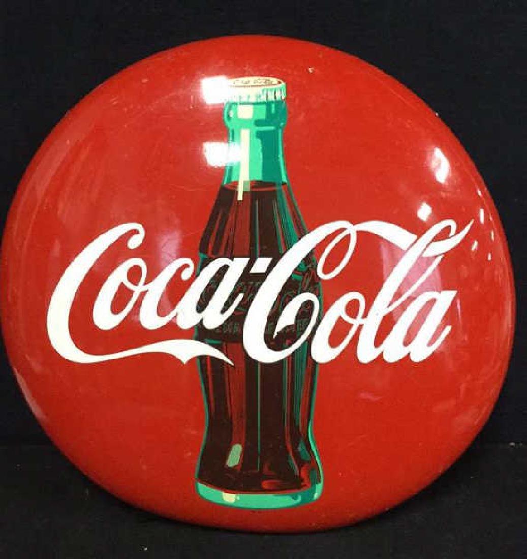 Vintage Coca-Cola Button Sign AM 74