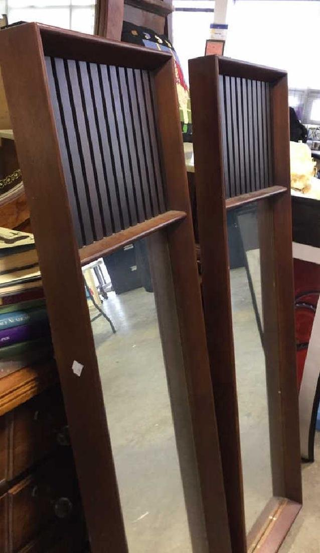 Pair Mid Century Modern Teak Design Mirrors - 10