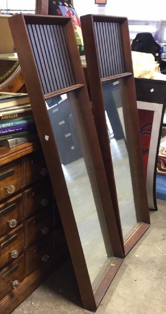 Pair Mid Century Modern Teak Design Mirrors - 5