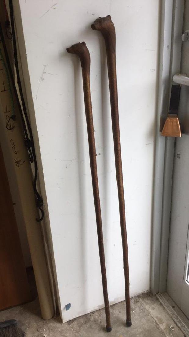 Two Vintage Irish Shillelagh Walking Staffs - 4