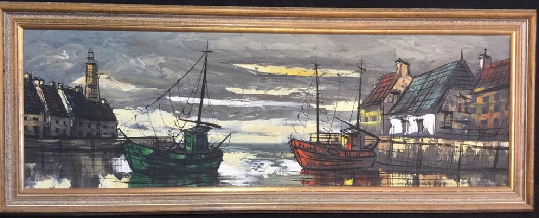 Vintage Painting Of A Harbor Town On Canvas
