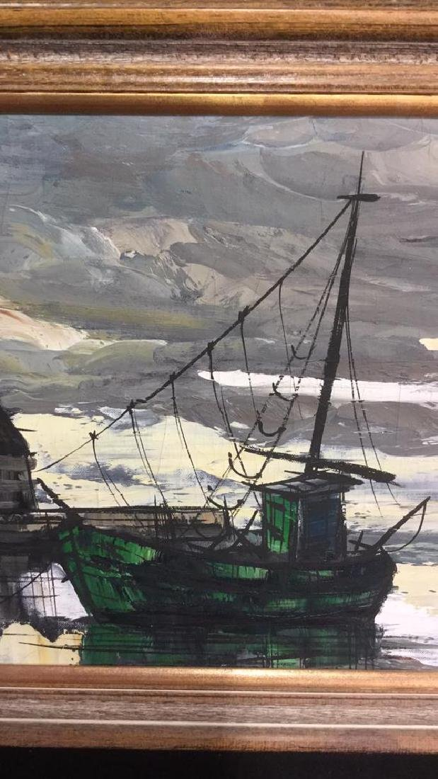 Vintage Painting Of A Harbor Town On Canvas - 2