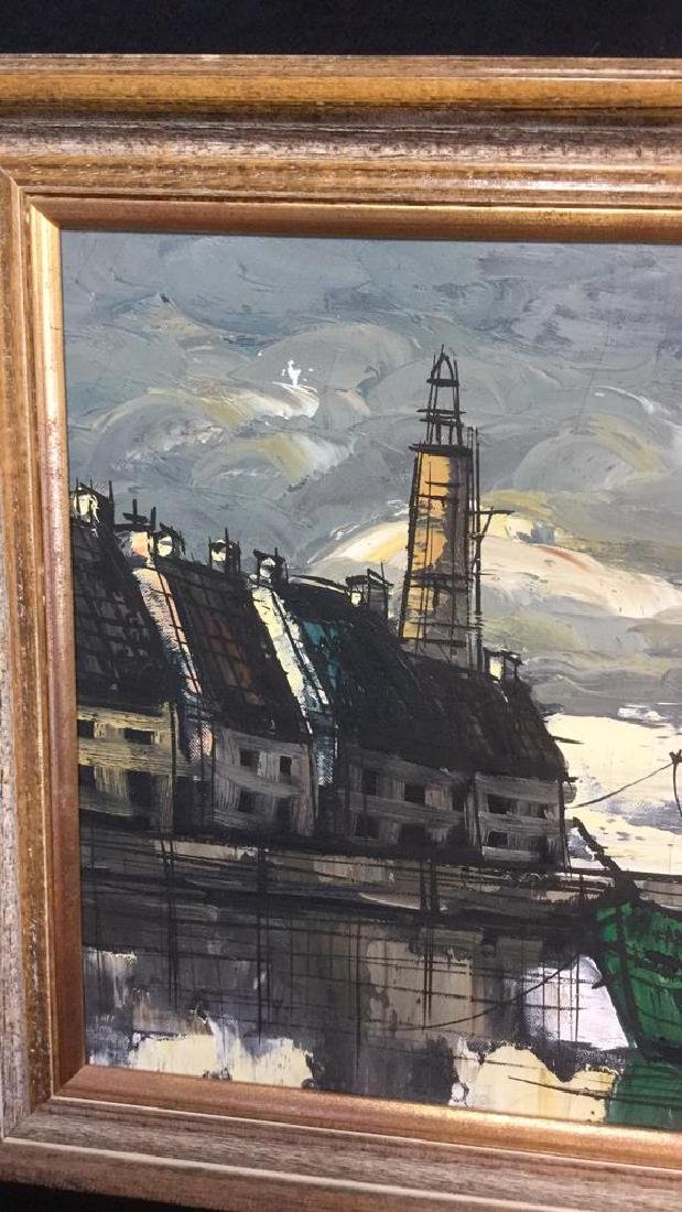 Vintage Painting Of A Harbor Town On Canvas - 3