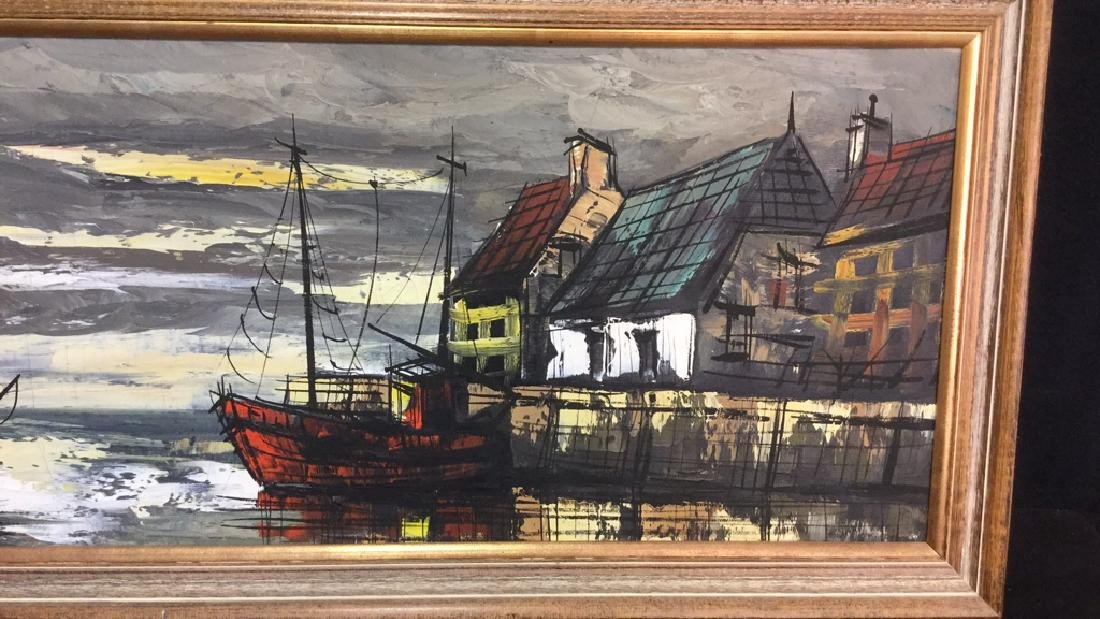 Vintage Painting Of A Harbor Town On Canvas - 5