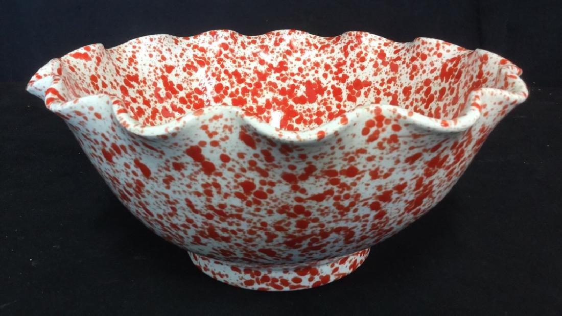 Vintage Italian Splattereware Centerpiece Bowl