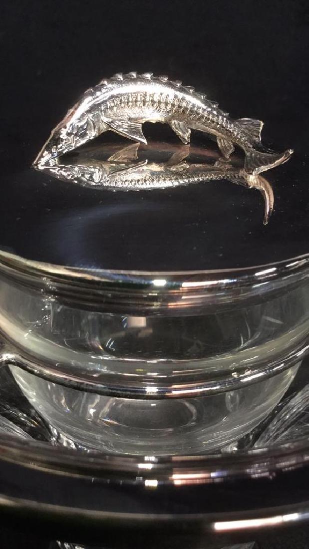 Asprey London Sterling And Crystal Caviar Server - 5