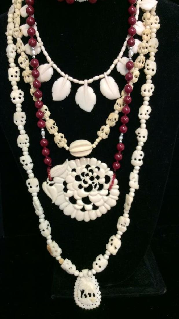Lot 4  Bone and Faux Stone Beaded Jewelry