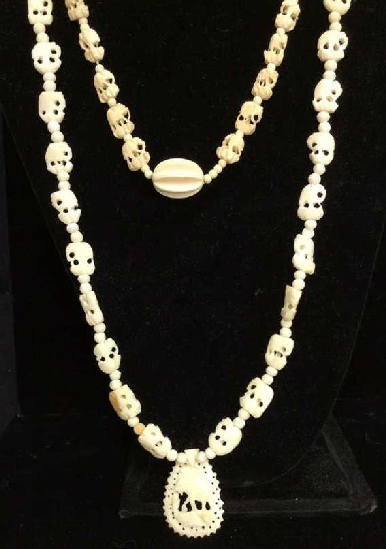 Lot 4  Bone and Faux Stone Beaded Jewelry - 2