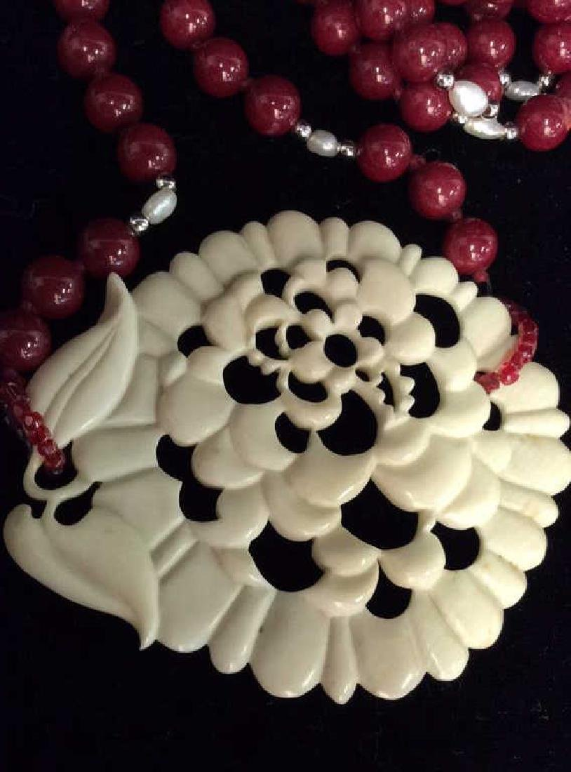 Lot 4  Bone and Faux Stone Beaded Jewelry - 8