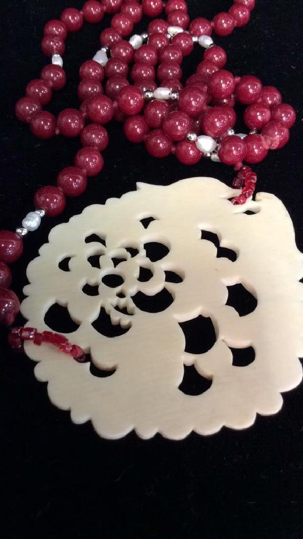 Lot 4  Bone and Faux Stone Beaded Jewelry - 9