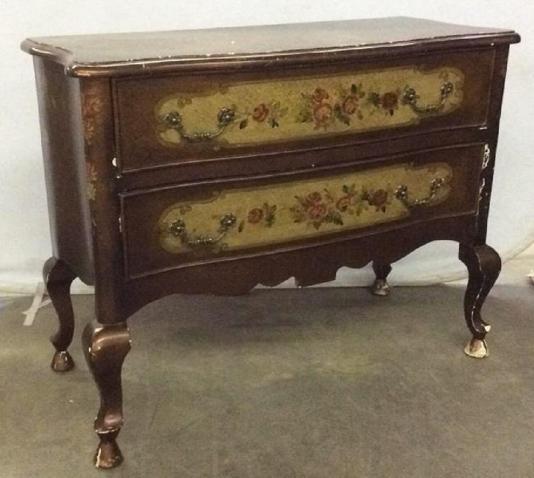 Carved Painted Wooden 2 Drawer Dresser - 5