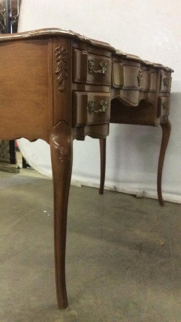 Vintage Carved Wooden 4 Drawer Desk Vanity - 10