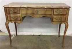 Vintage Carved Wooden 4 Drawer Desk Vanity