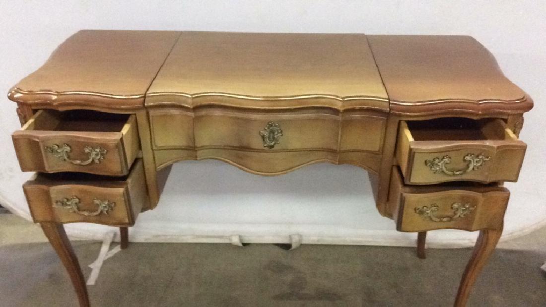 Vintage Carved Wooden 4 Drawer Desk Vanity - 3