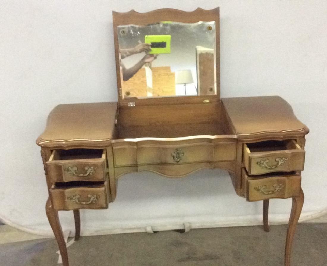 Vintage Carved Wooden 4 Drawer Desk Vanity - 4
