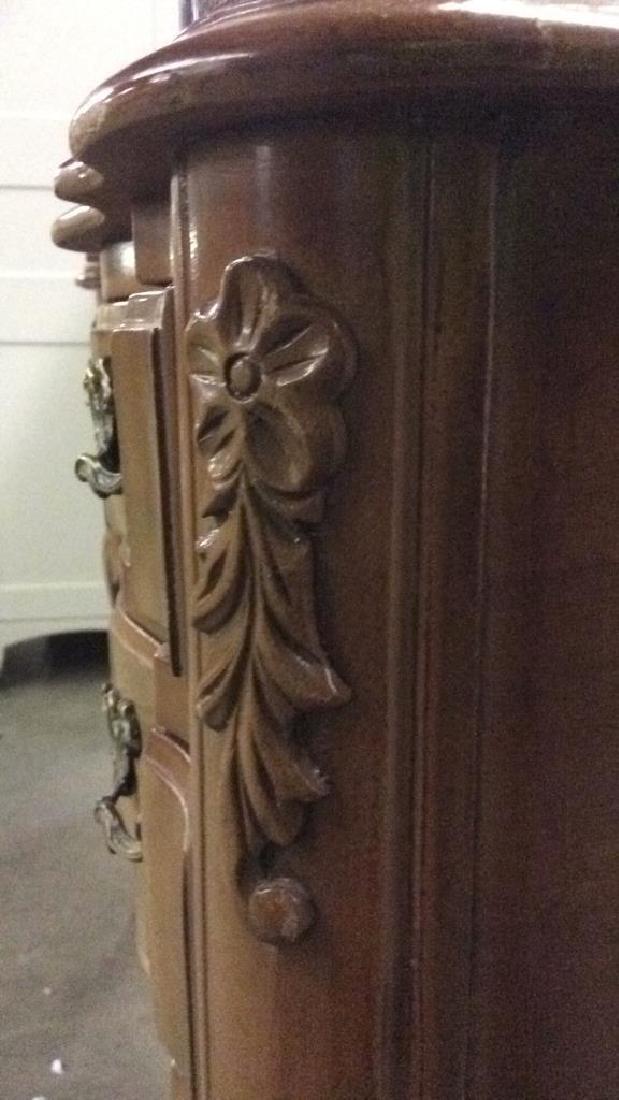 Vintage Carved Wooden 4 Drawer Desk Vanity - 5
