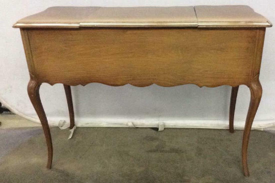 Vintage Carved Wooden 4 Drawer Desk Vanity - 8