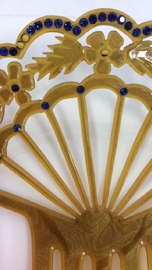 Poss Antique Art Nouveau Celluloid Hair Comb - 3