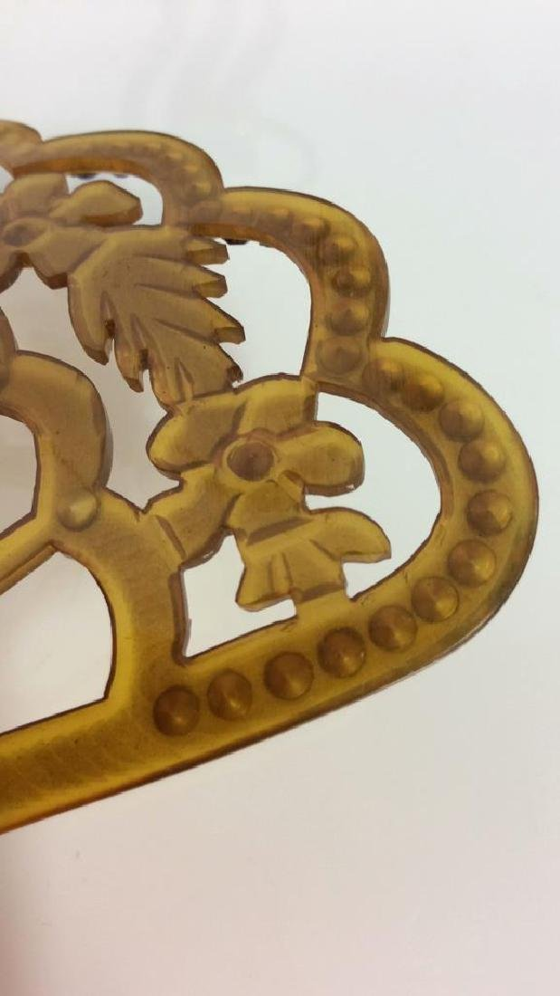 Poss Antique Art Nouveau Celluloid Hair Comb - 6