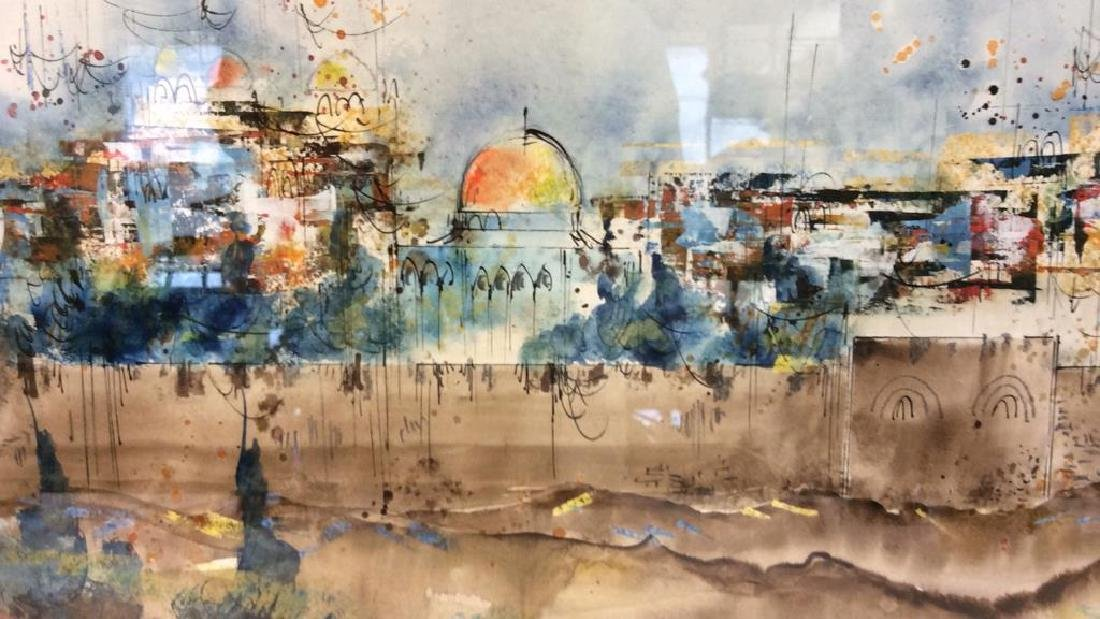 Framed Watercolor Painting of Jerusalem