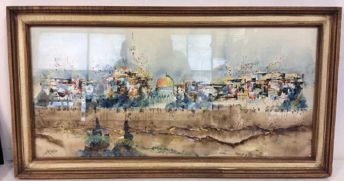 Framed Watercolor Painting of Jerusalem - 2