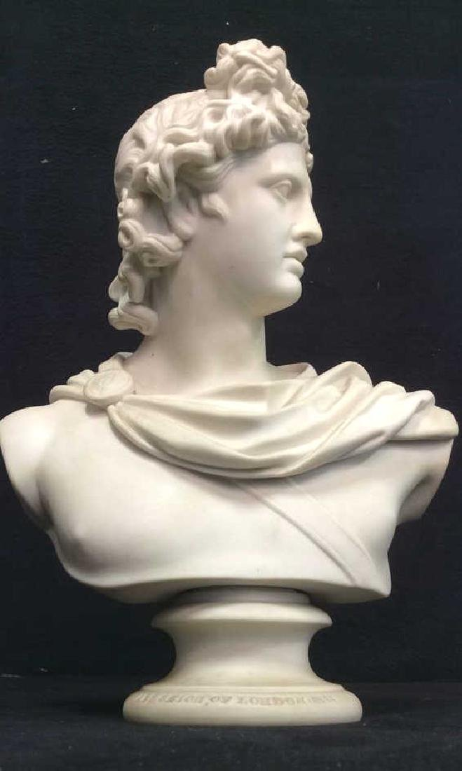 Cream Toned Alabaster Male Bust, England - 2