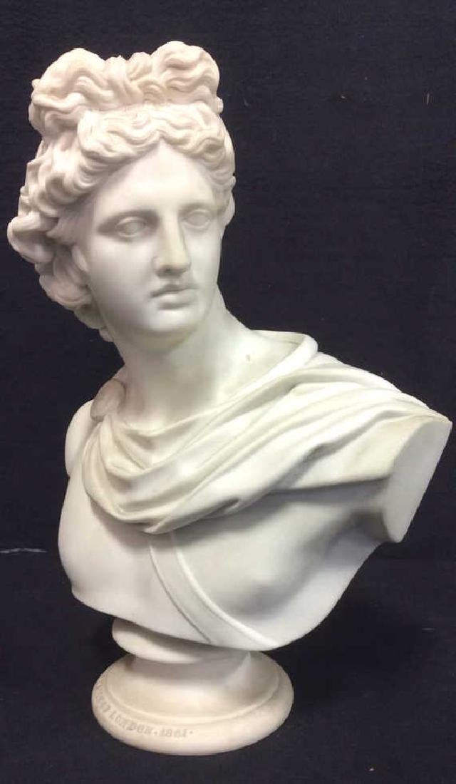 Cream Toned Alabaster Male Bust, England - 3