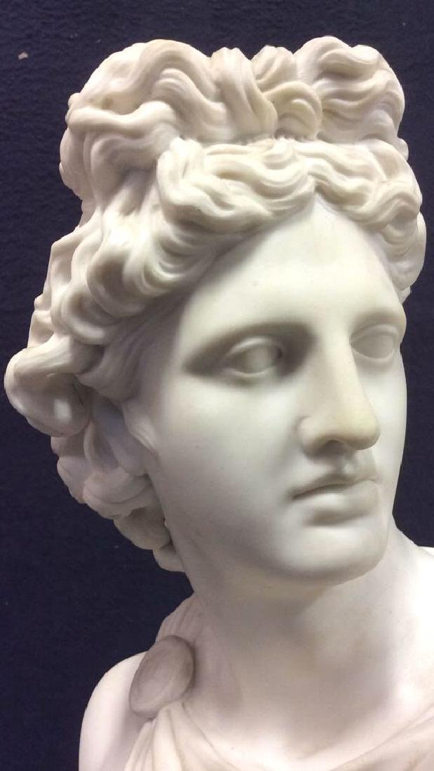 Cream Toned Alabaster Male Bust, England - 4