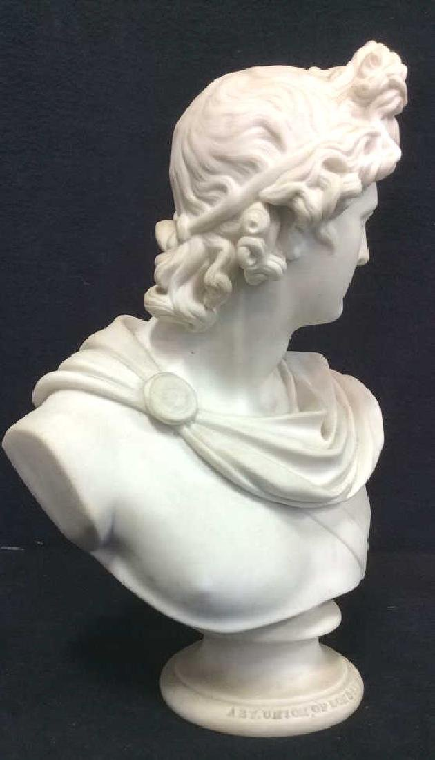 Cream Toned Alabaster Male Bust, England - 5