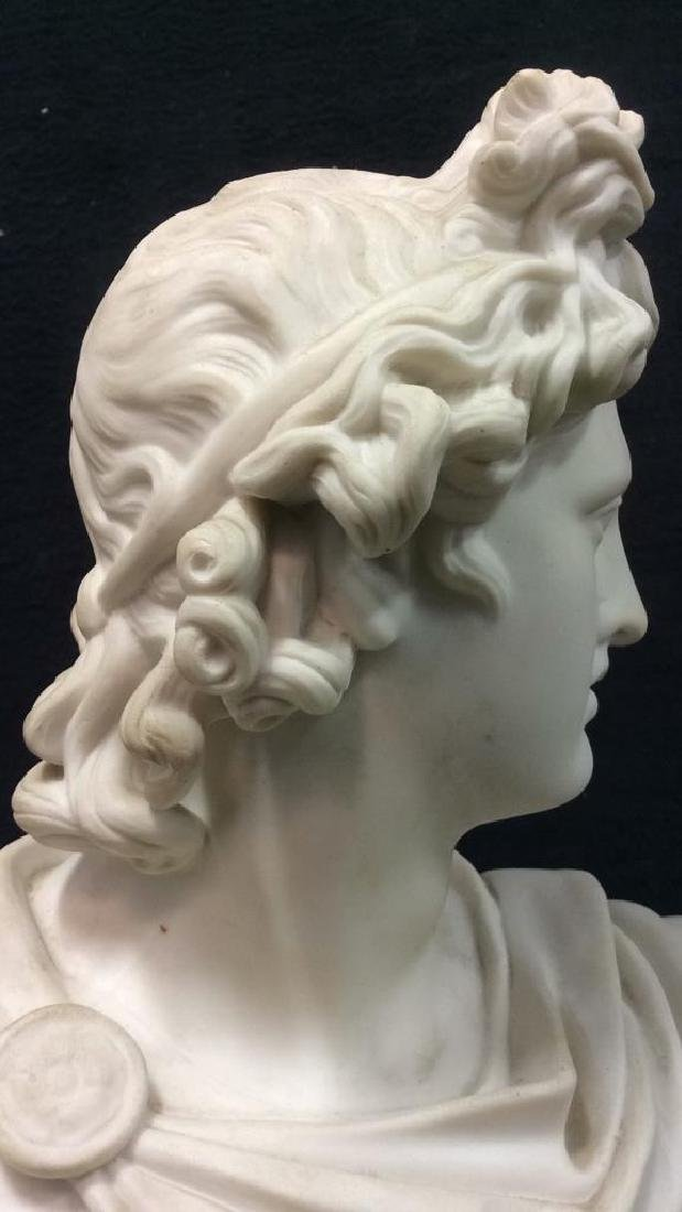 Cream Toned Alabaster Male Bust, England - 6