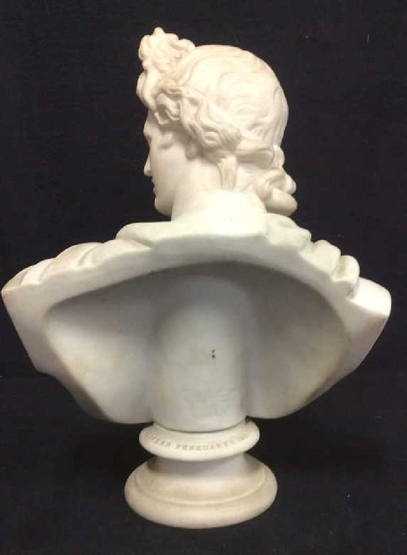 Cream Toned Alabaster Male Bust, England - 7