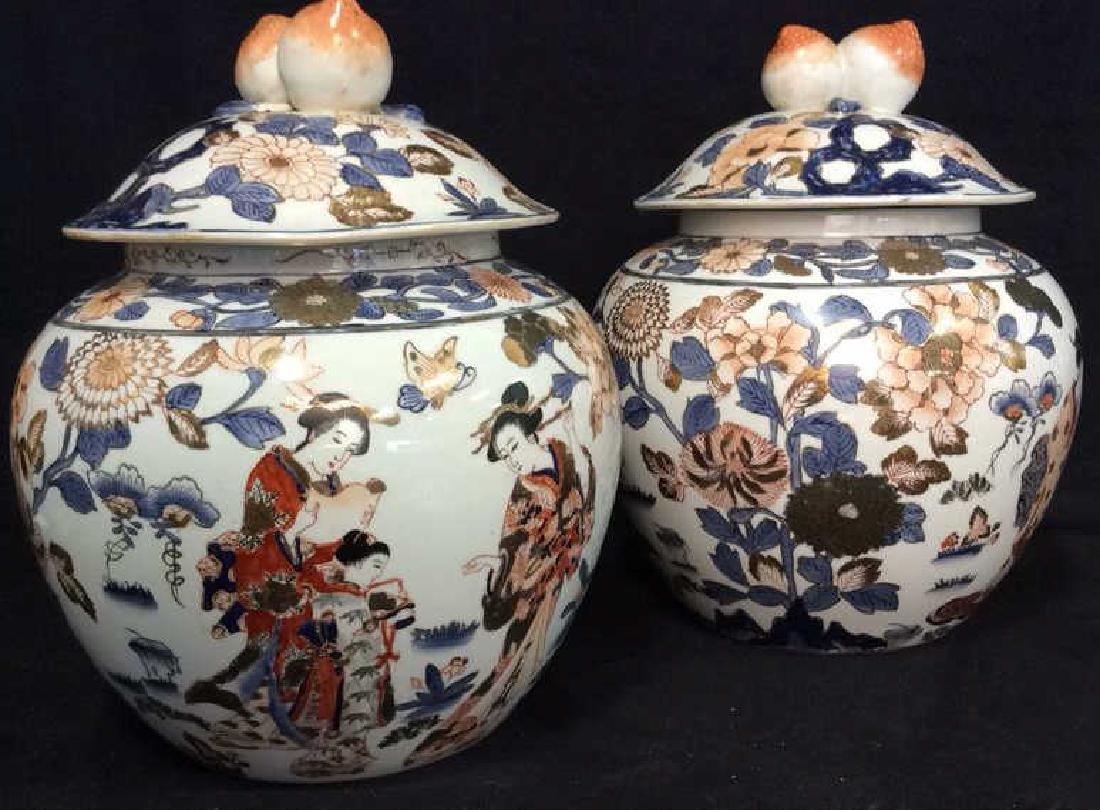 Pair Signed Oriental Painted Lidded Ginger Jars