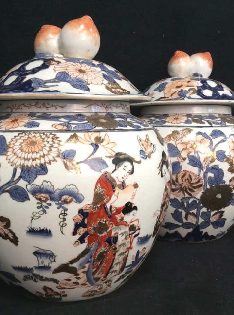 Pair Signed Oriental Painted Lidded Ginger Jars - 3