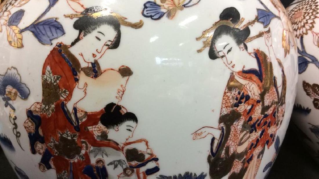 Pair Signed Oriental Painted Lidded Ginger Jars - 4