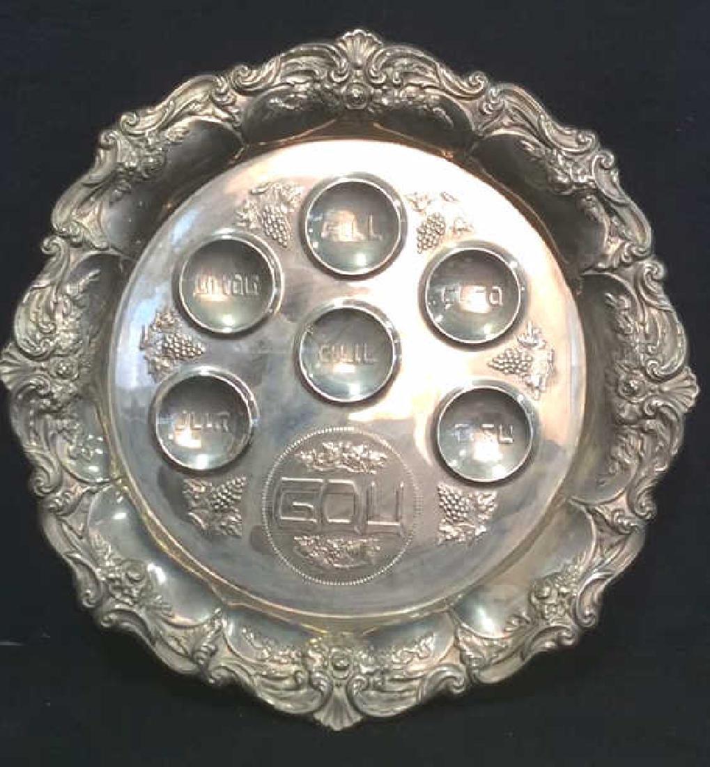 Silver Toned Metal Judaica Plate
