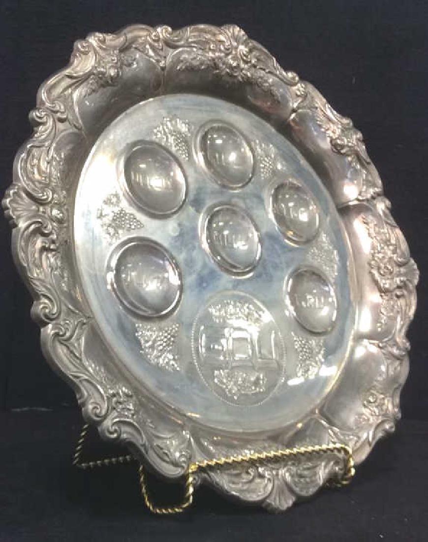 Silver Toned Metal Judaica Plate - 2