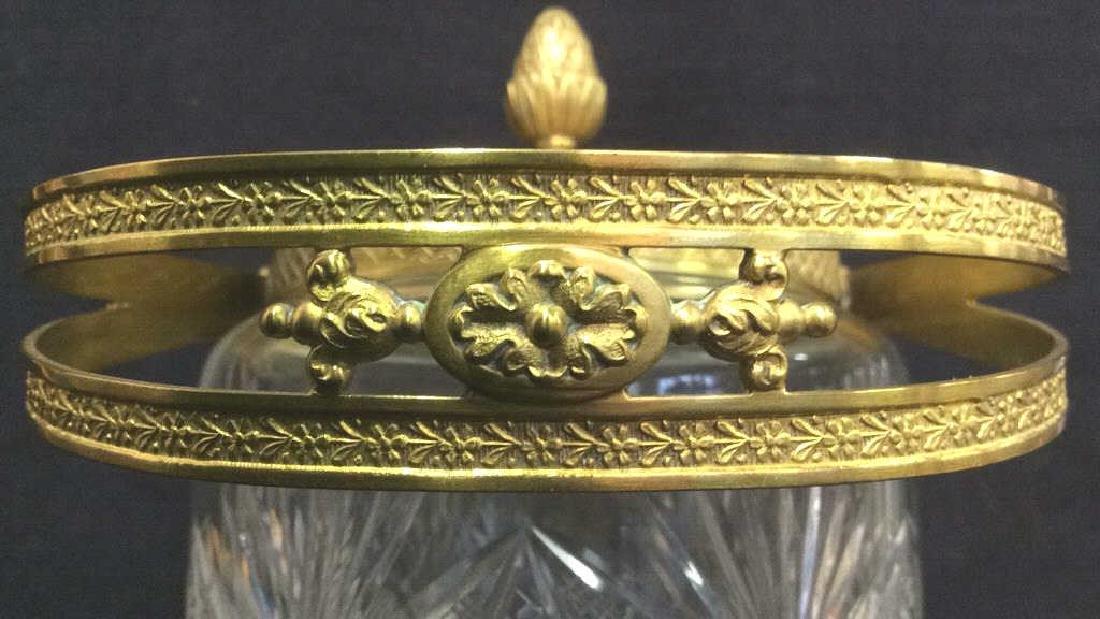 Cut Crystal Jar W Gold Toned Accents & Lid - 10