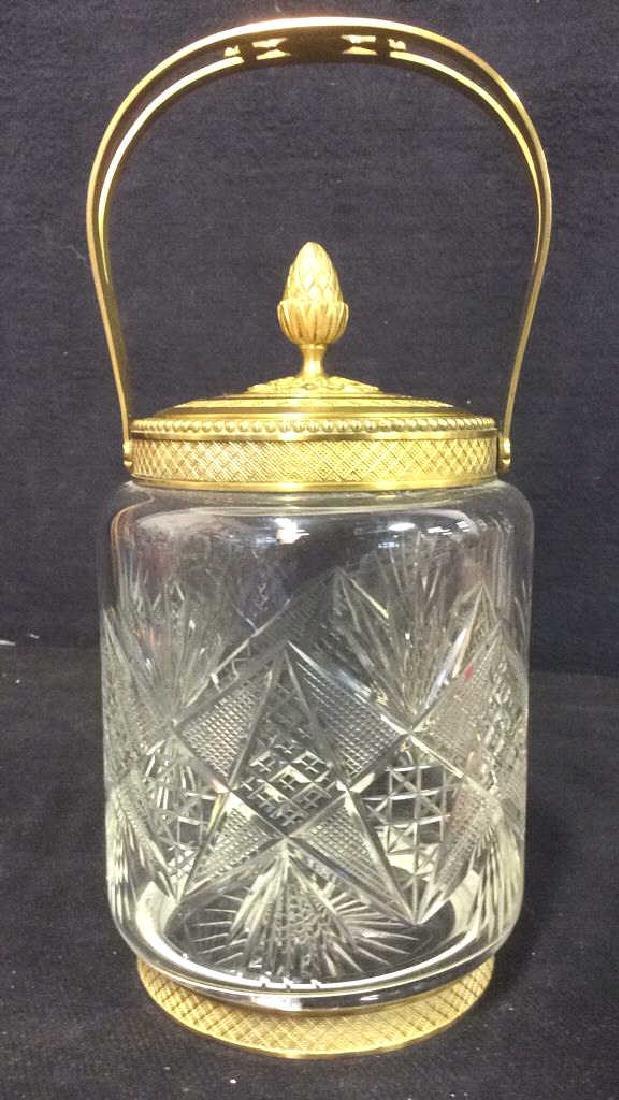 Cut Crystal Jar W Gold Toned Accents & Lid