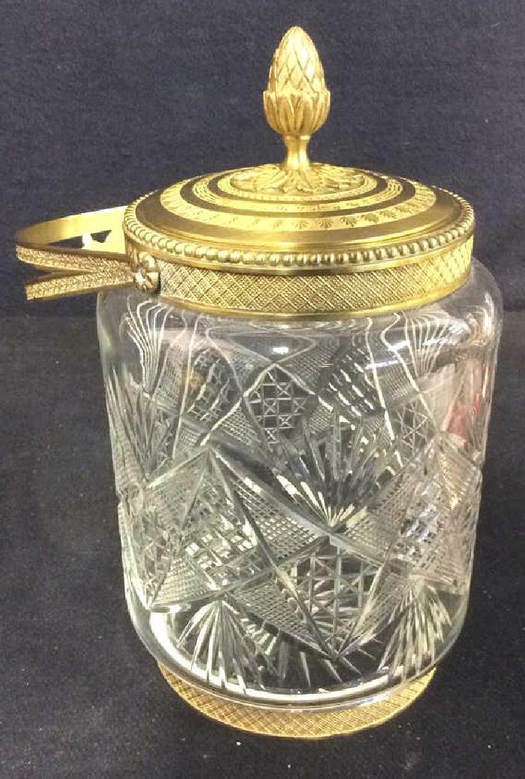 Cut Crystal Jar W Gold Toned Accents & Lid - 2