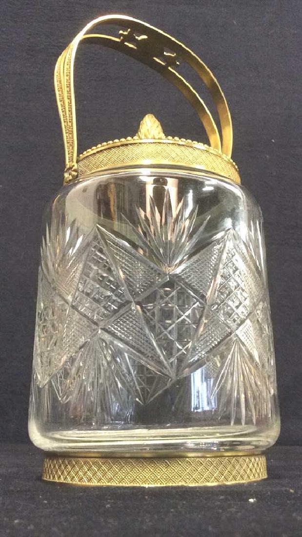 Cut Crystal Jar W Gold Toned Accents & Lid - 3