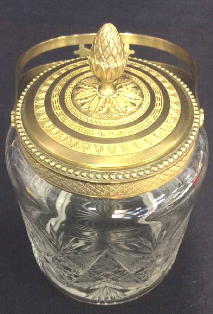 Cut Crystal Jar W Gold Toned Accents & Lid - 4