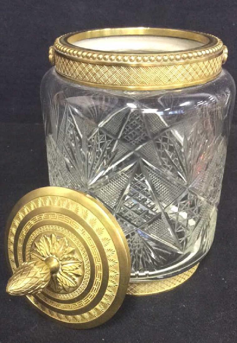 Cut Crystal Jar W Gold Toned Accents & Lid - 5