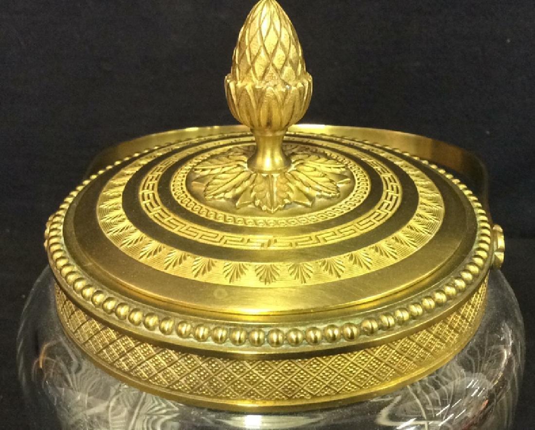 Cut Crystal Jar W Gold Toned Accents & Lid - 6